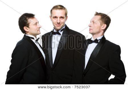 Three Friends In A Black Tuxedo