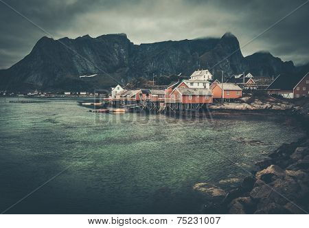 Traditional wooden houses in Reine village, Norway