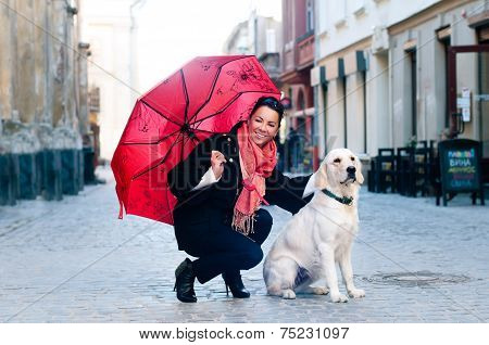 Pretty Woman With Dog Portrait
