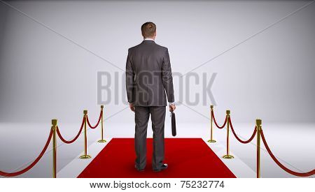 Businessman in suit holding briefcase and standing on red carpet. Rear view