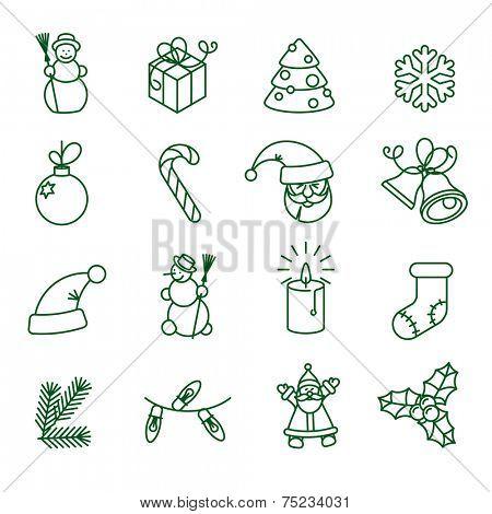 Christmas  thin line vector icon set