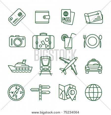 Travel and tourism  thin line vector icon set (2)