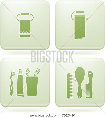 Olivine Square 2D Icons Set: Bathroom