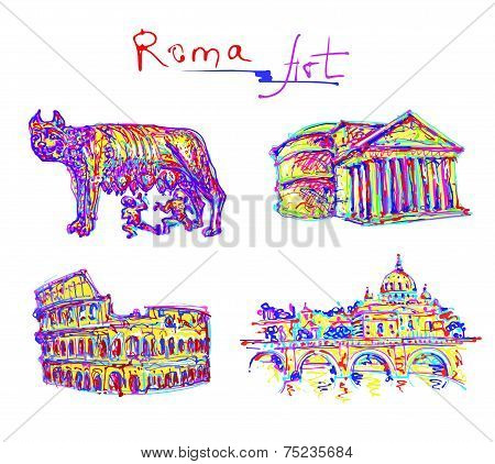 set famous place of Rome Italy, original drawing in rainbow colo
