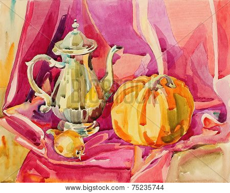 original handmade watercolor painting still life