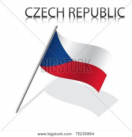 Realistic Czech flag