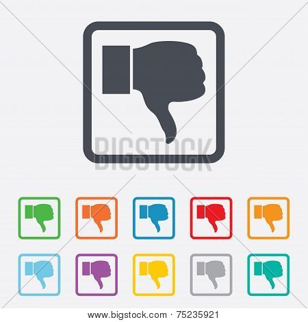 Dislike sign icon. Hand finger down symbol.