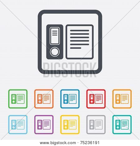 Document folder sign. Accounting binder symbol.
