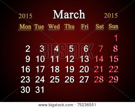 Calendar On March Of 2015 On Claret