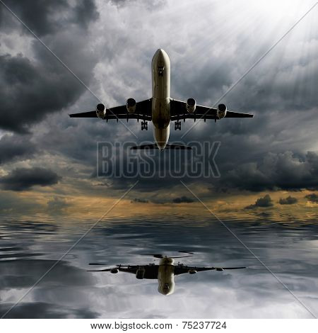 Storm clouds with aircraft