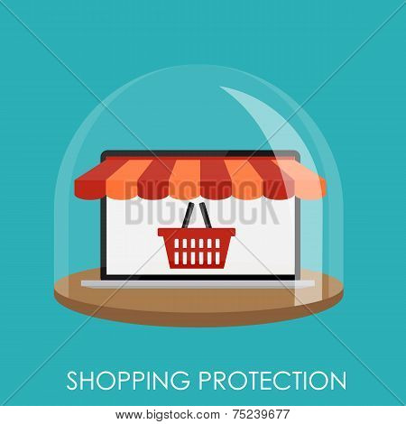 Shopping Protection Flat Concept for Mobile Apps