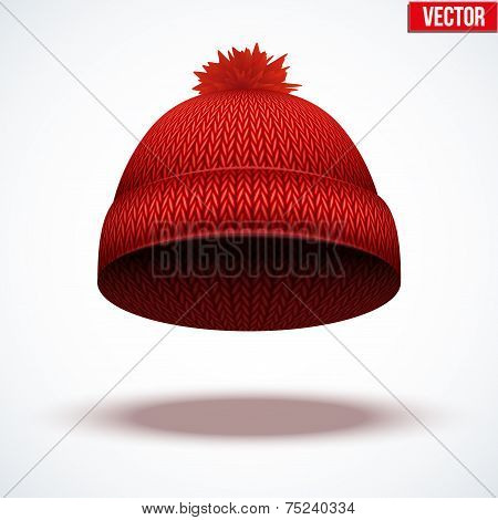 Knitted woolen cap. Winter seasonal red hat. vector illustration