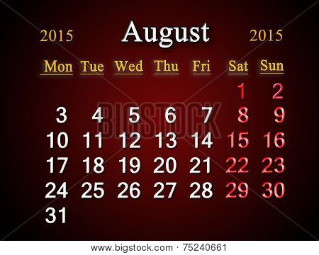 Calendar On August Of 2015 Year On Claret