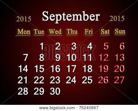 Calendar On September Of 2015 Year On Claret