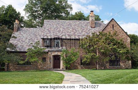 Tan Brick & Stone Home