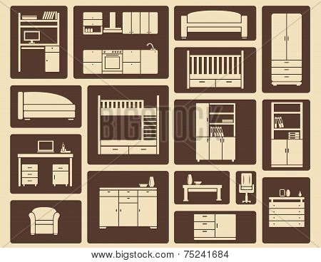 Flat furniture and interior icons
