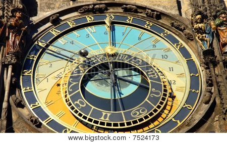detail of prague astronomical clock on old town square