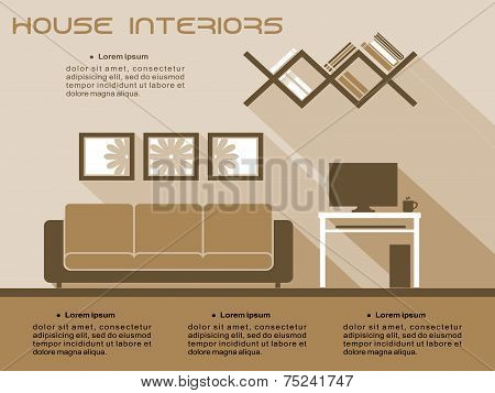 Living room interior vector infographic template