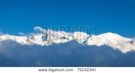 Panoramic View Of The Mont Blanc In Chamonix, French Alps - France