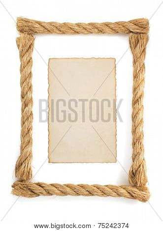 ship rope and parchment isolated on white background
