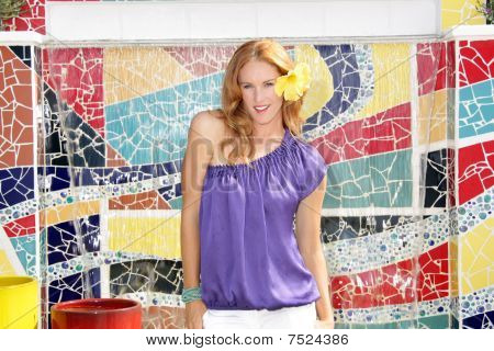 Beautiful Redhead with Mosaic Tiles (2)