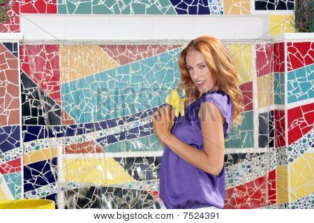 Beautiful Redhead with Mosaic Tiles