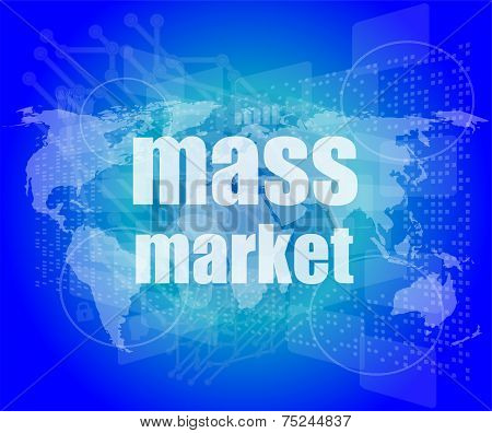 Mass Market Words On Digital Touch Screen Interface