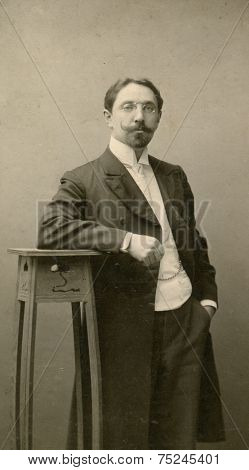 MOSCOW, RUSSIA, -  CIRCA 1900s: Antique photo, portrait of a moustached and bearded man, circa 1896