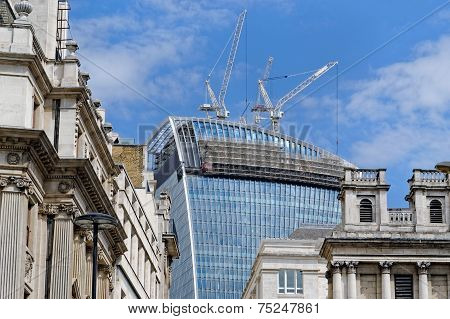 Historic buildings facades in the city of London