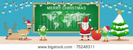 Merry Christmas banners.Cartoon styles with santa claus,elfs and reindeers work in christmas room.Ve