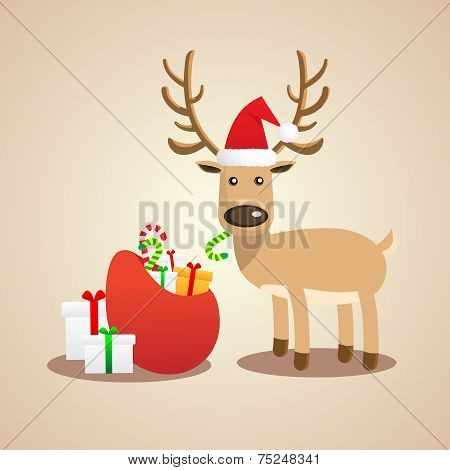 Vector Illustration of Christmas cute reindeer.