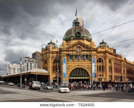 Flinders St Station, Melbourne, Australien.