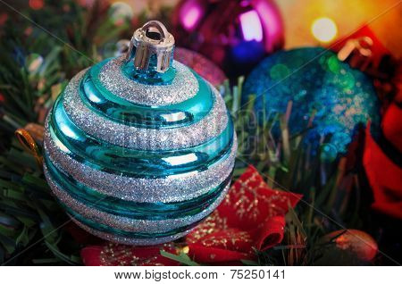 Blue decorative Christmas baubles