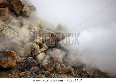 Smoking Fumarole In Iceland
