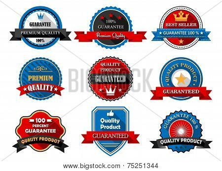 Quality and Premium product flat labels