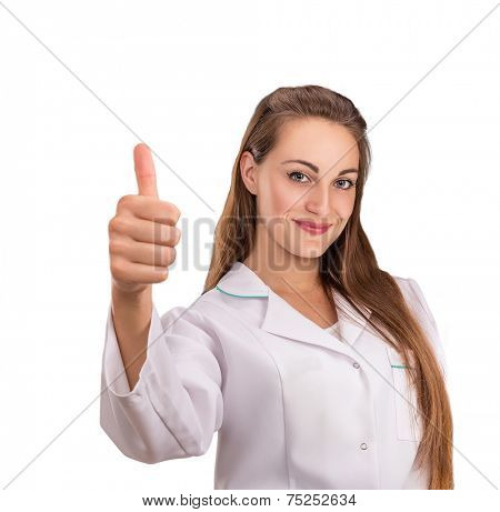 Medical woman worker is wearing white clothes