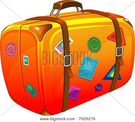 Maleta de viaje con pegatinas