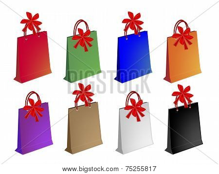 Colorful Paper Shopping Bags with Red Bows