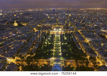 Nightfall In Paris, Ile-de-france, France