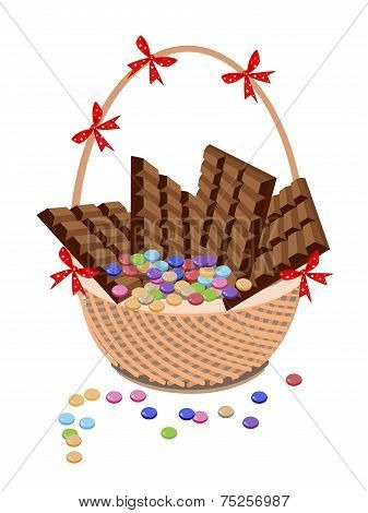 Brown Basket of Milk Chocolate and Chocolates Bar