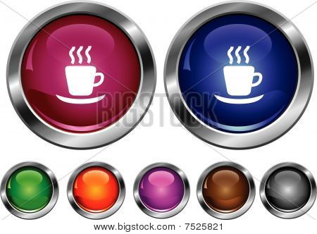 Vector Collection Icons With Hot Cup Sign