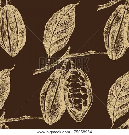 hand drawn cocoa beans seamless in vintage style