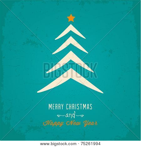 Christmas tree Christmas card. Vector