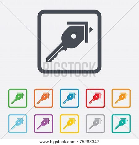 Key from the house sign icon. Unlock tool.