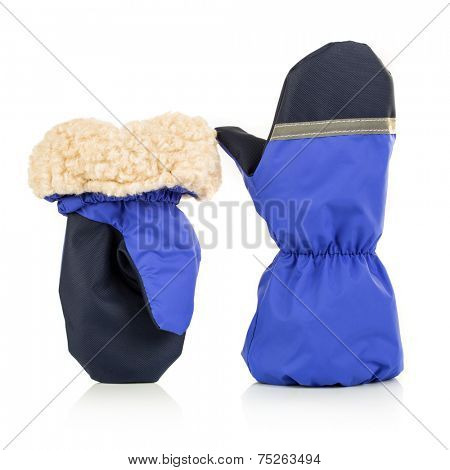 Children's autumn-winter mittens on a white background