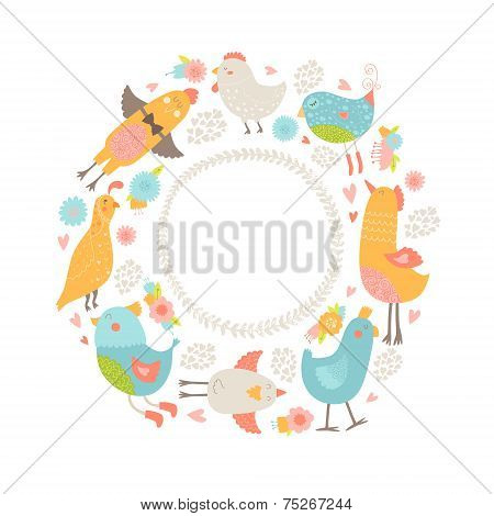 Vector frame with cute birds