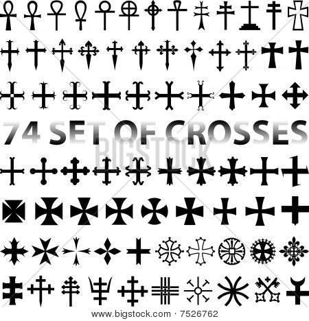 Set Crosses vector. various religious symbols