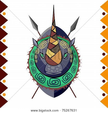 African Rhino in color pattern vector illustration