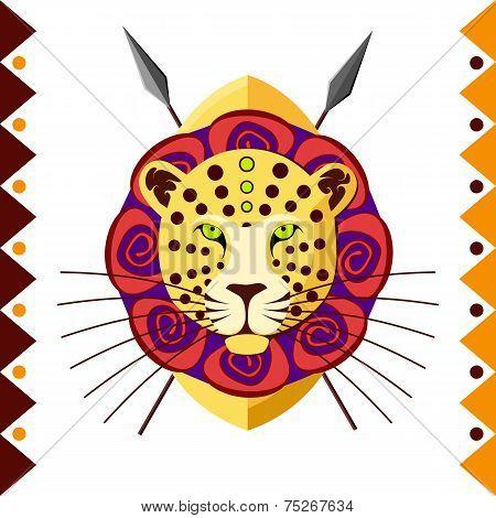 African Leopard in color pattern vector illustration