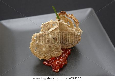 Snack Of Bread, Cheese, Red Pepper And Tempura